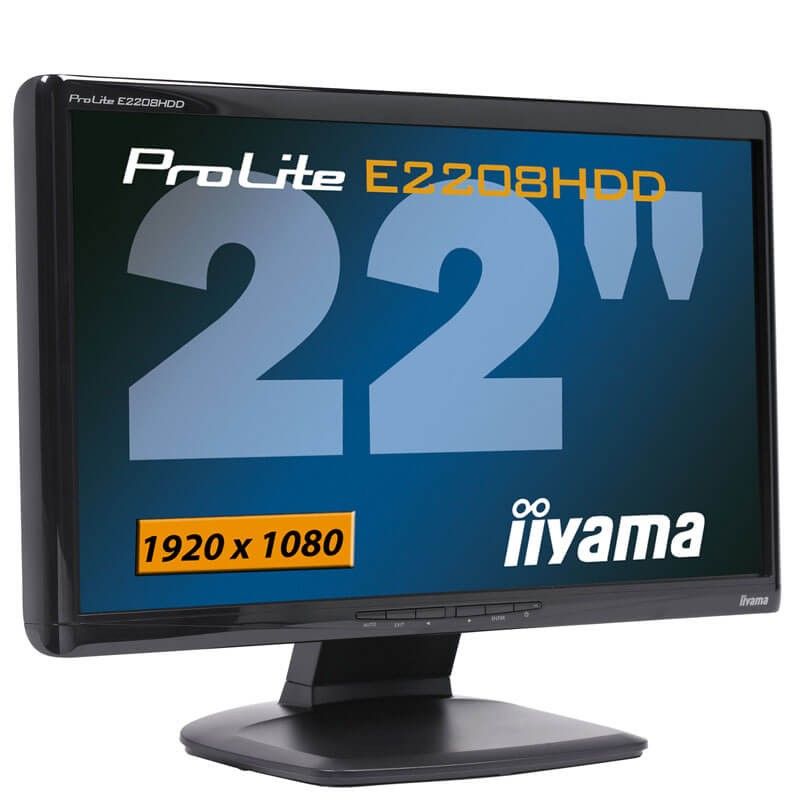 Monitoare LCD Refurbished Iiyama PROLITE E2208HDD, 21.5 inch, Full HD